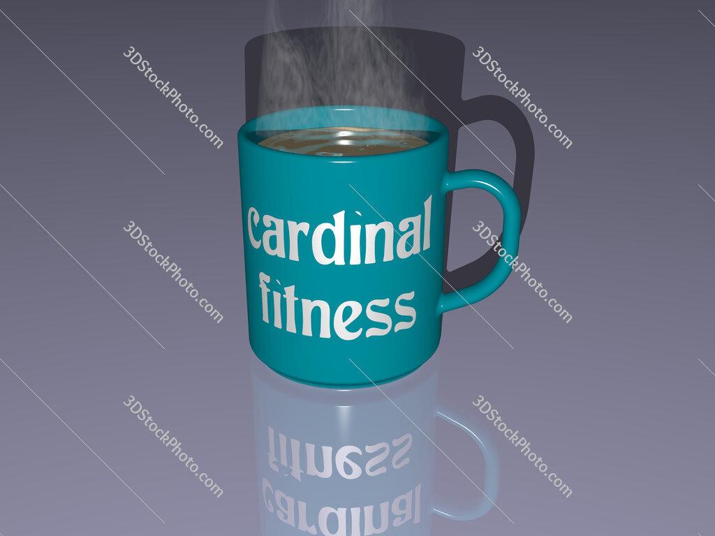 cardinal fitness text on a coffee mug