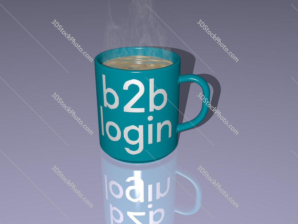 b2b login text on a coffee mug