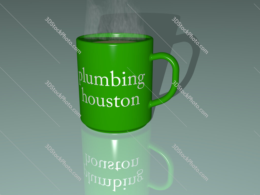 plumbing houston text on a coffee mug