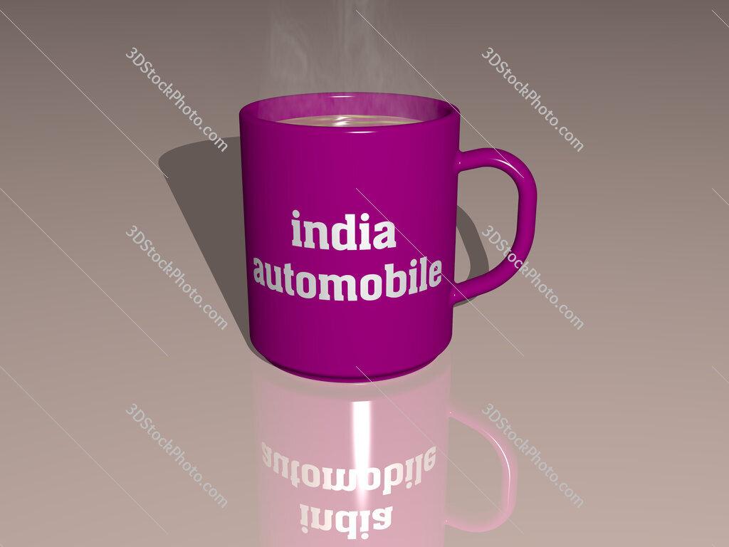 india automobile text on a coffee mug