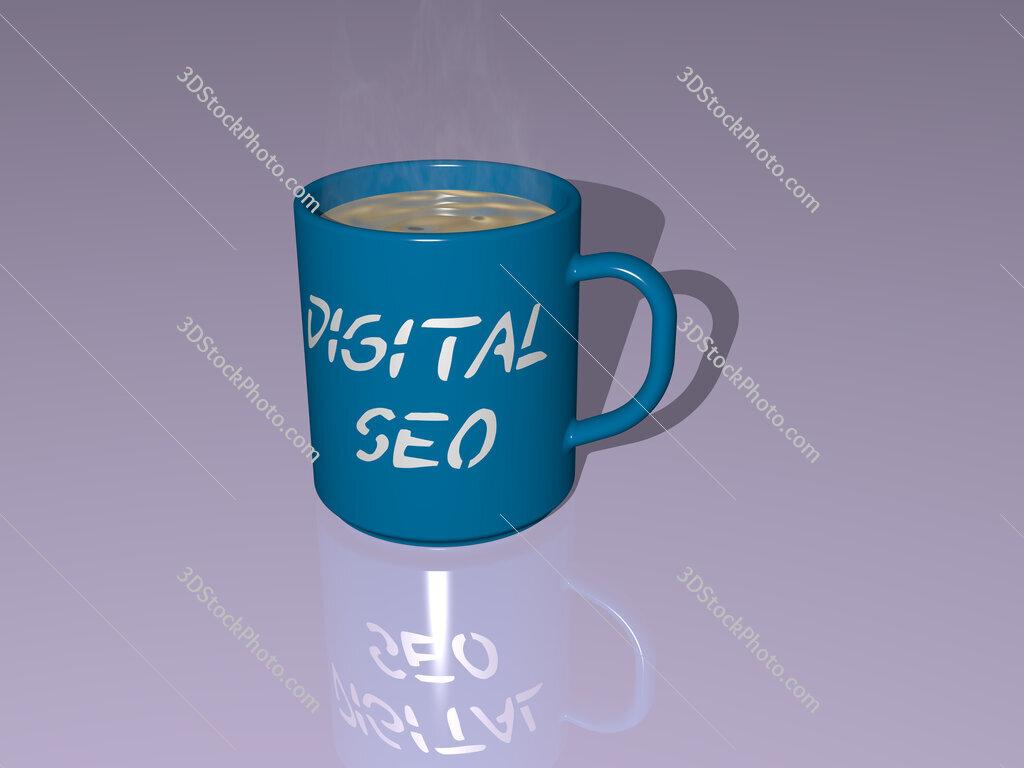 digital seo text on a coffee mug