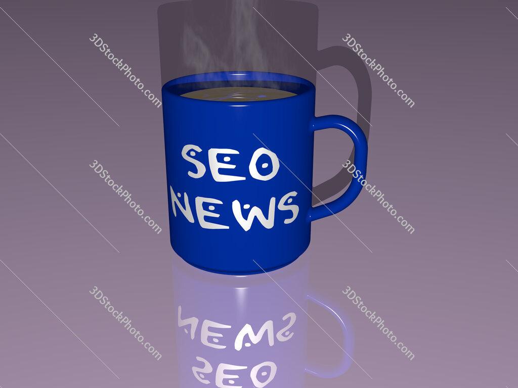 seo news text on a coffee mug
