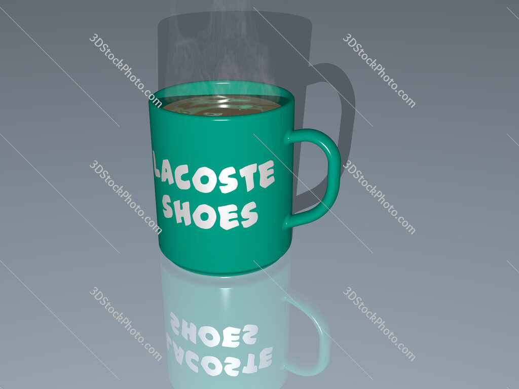lacoste shoes text on a coffee mug