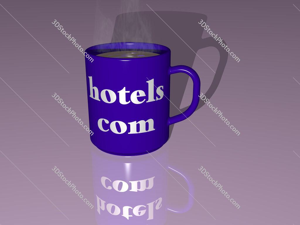 hotels com text on a coffee mug