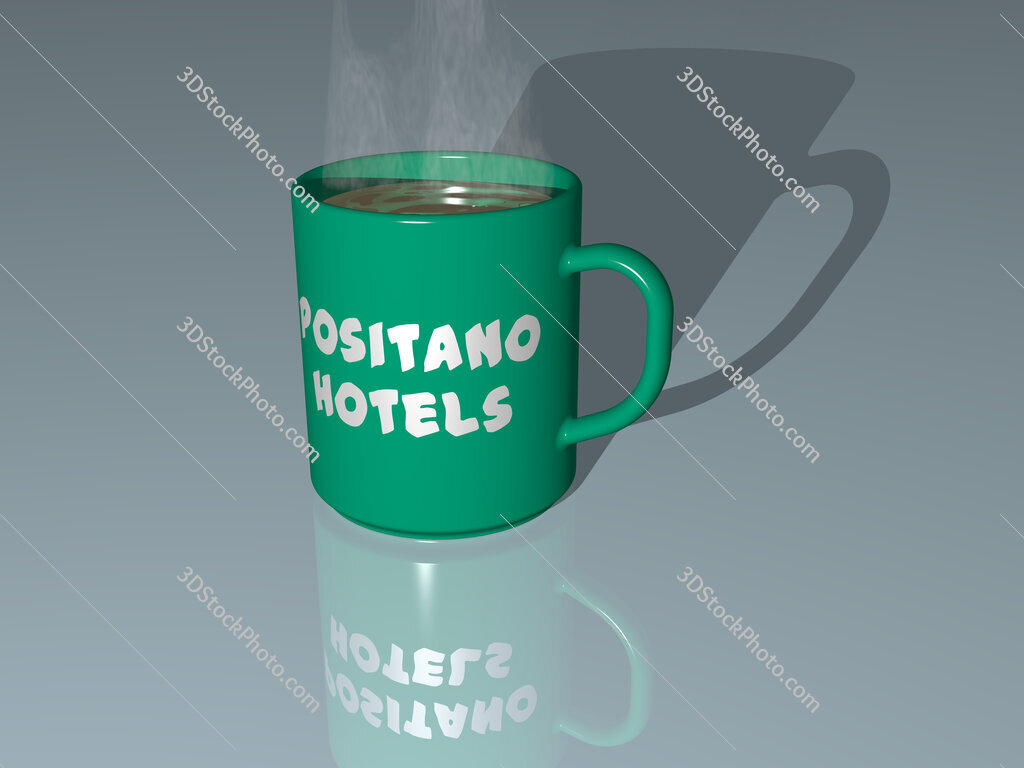 positano hotels text on a coffee mug