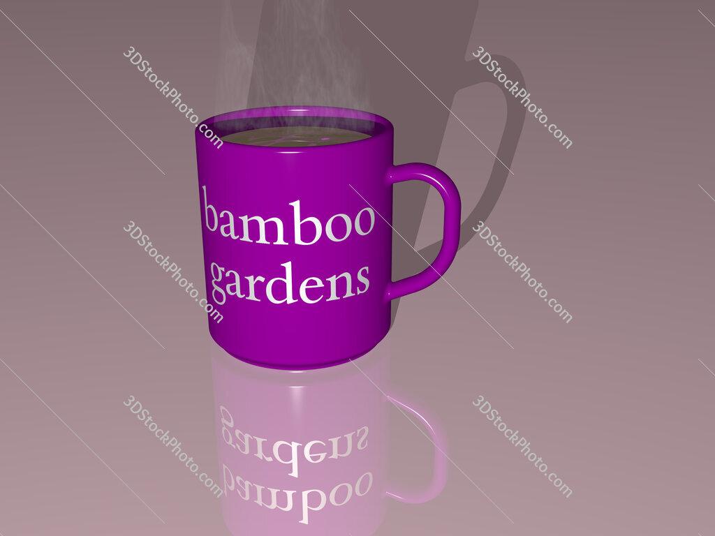bamboo gardens text on a coffee mug