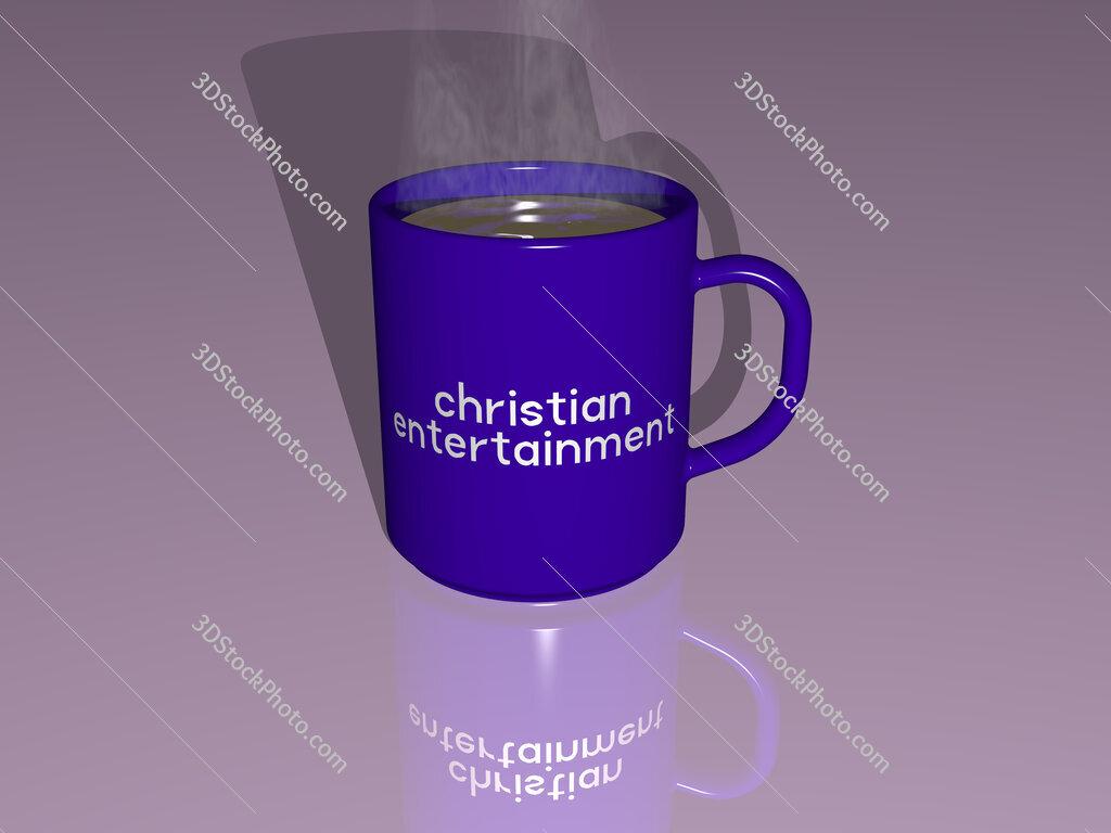 christian entertainment text on a coffee mug