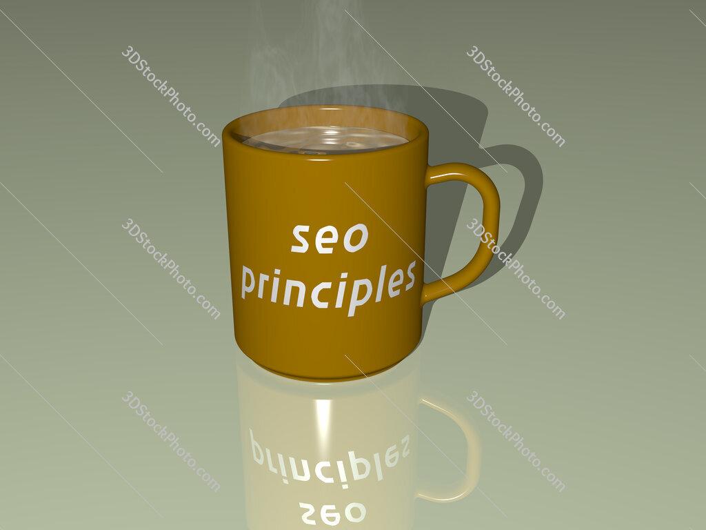 seo principles text on a coffee mug