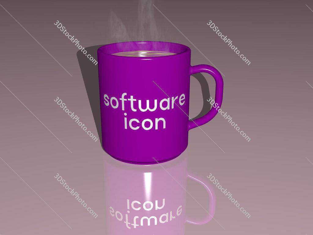 software icon text on a coffee mug