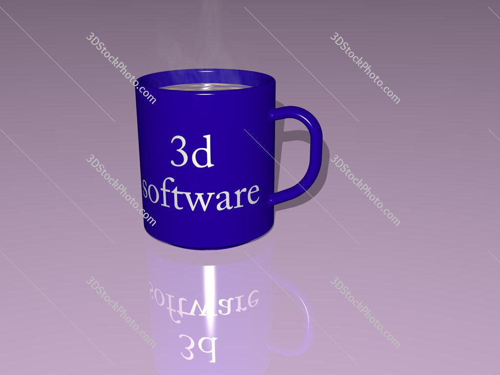 3d software text on a coffee mug