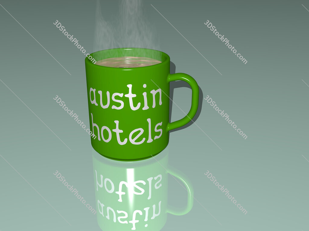 austin hotels text on a coffee mug