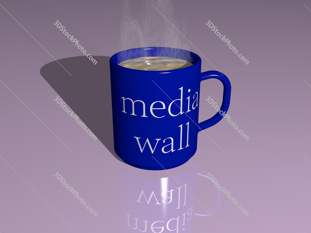media wall text on a coffee mug