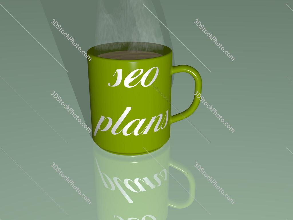 seo plans text on a coffee mug