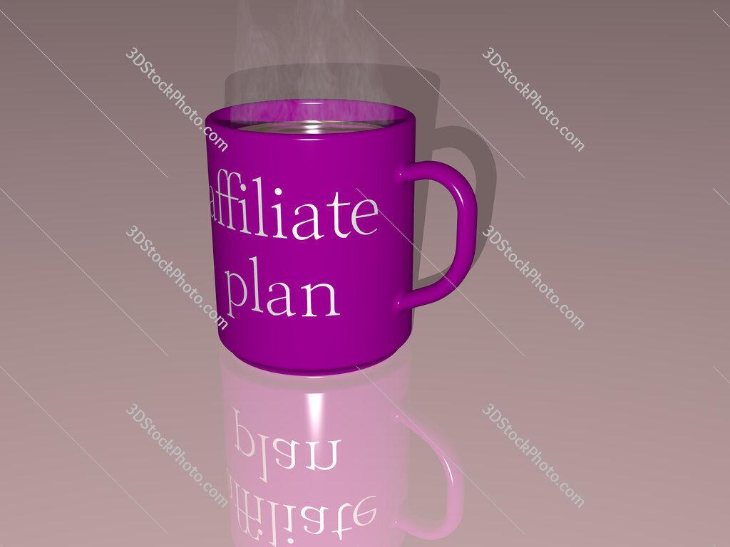 affiliate plan text on a coffee mug