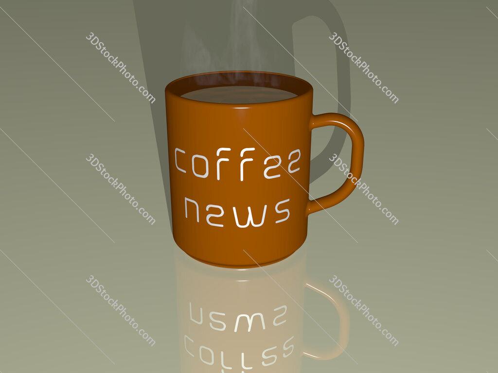 coffee news text on a coffee mug