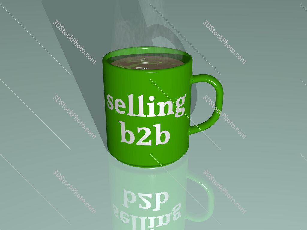 selling b2b text on a coffee mug