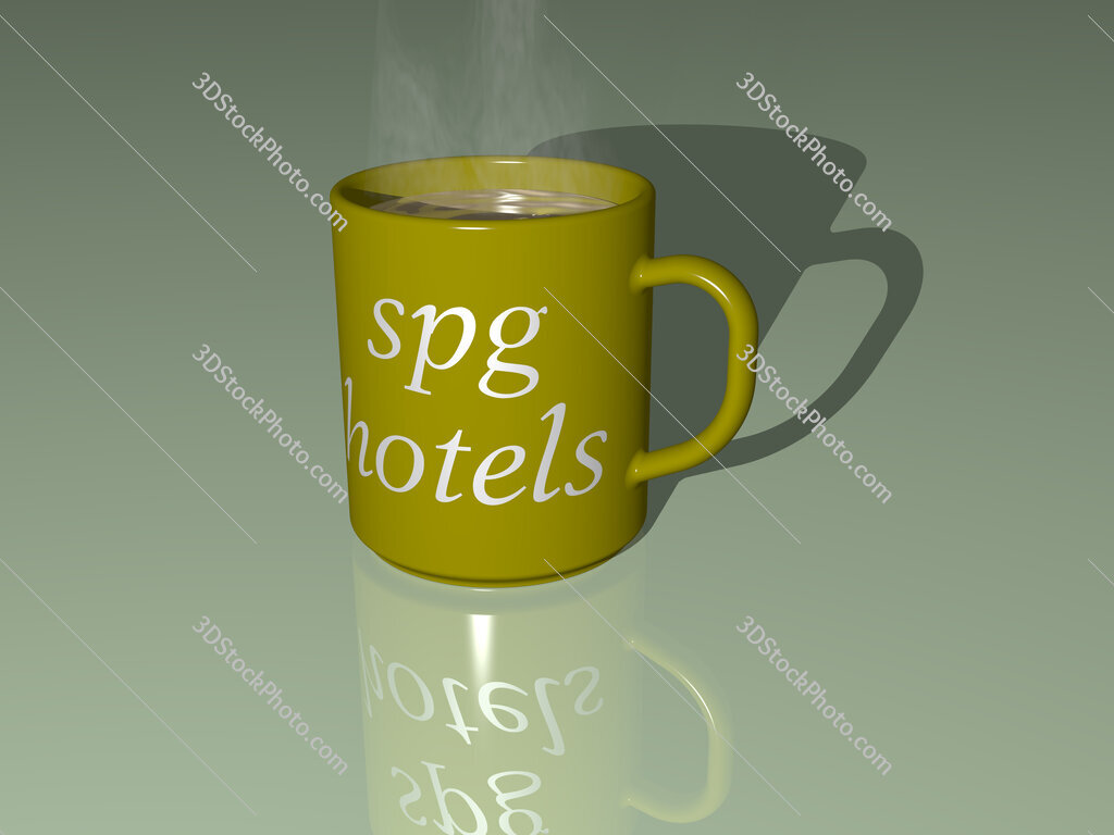 spg hotels text on a coffee mug