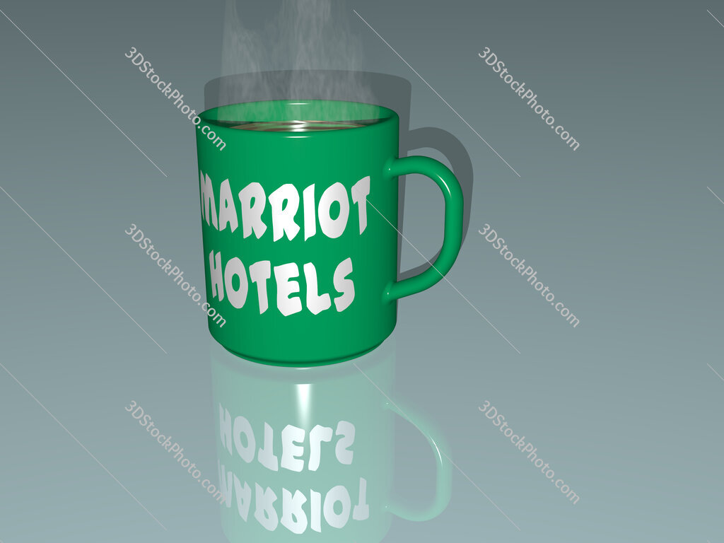 marriot hotels text on a coffee mug