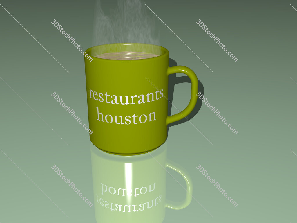 restaurants houston text on a coffee mug