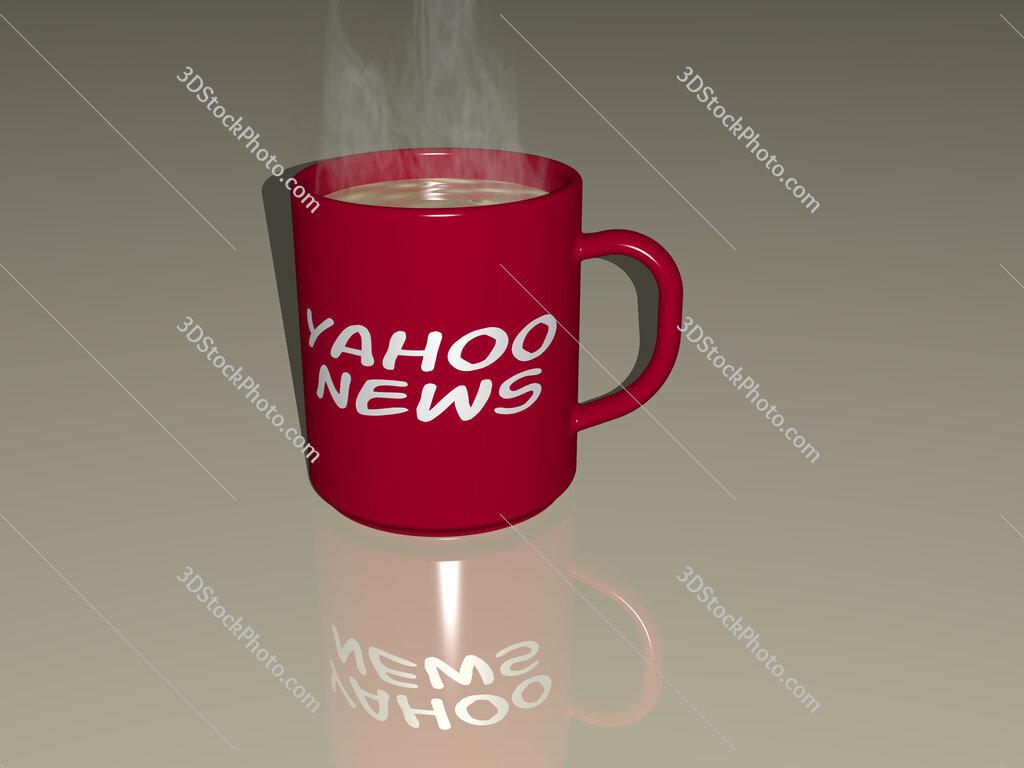 yahoo news text on a coffee mug