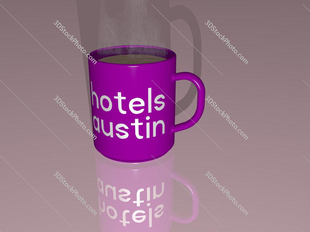 hotels austin text on a coffee mug