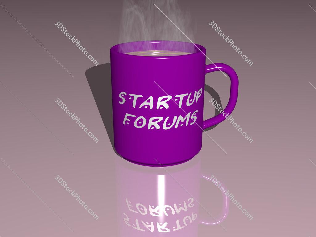 startup forums text on a coffee mug