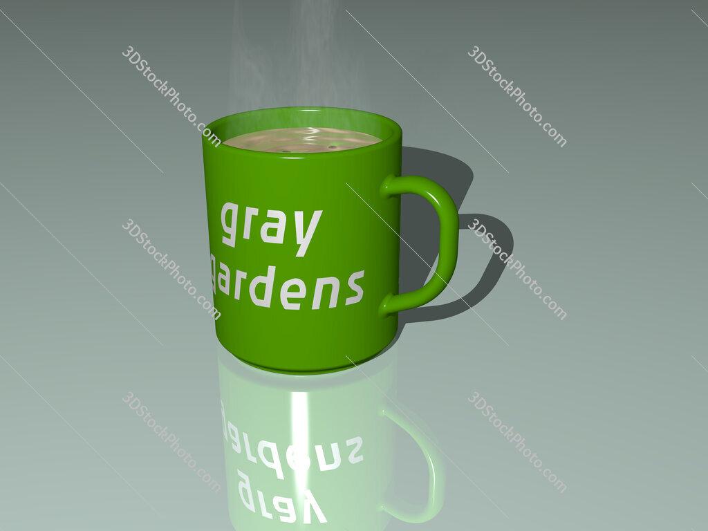 gray gardens text on a coffee mug