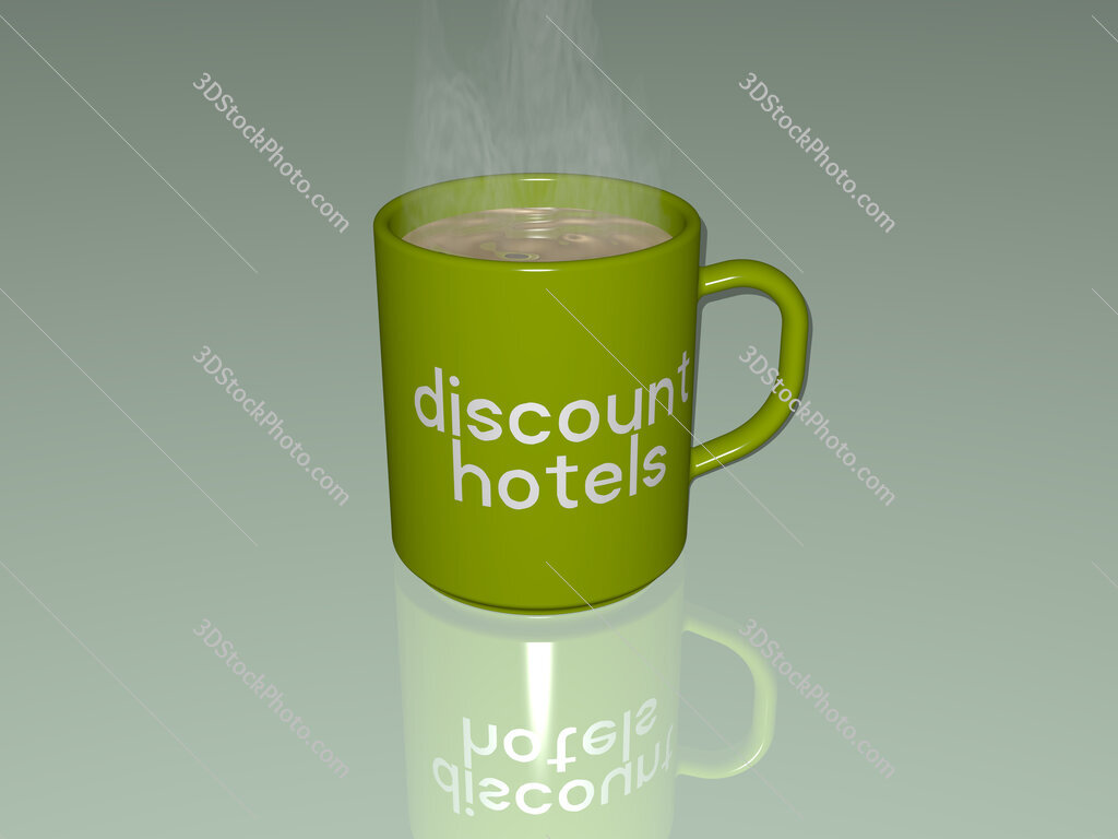 discount hotels text on a coffee mug