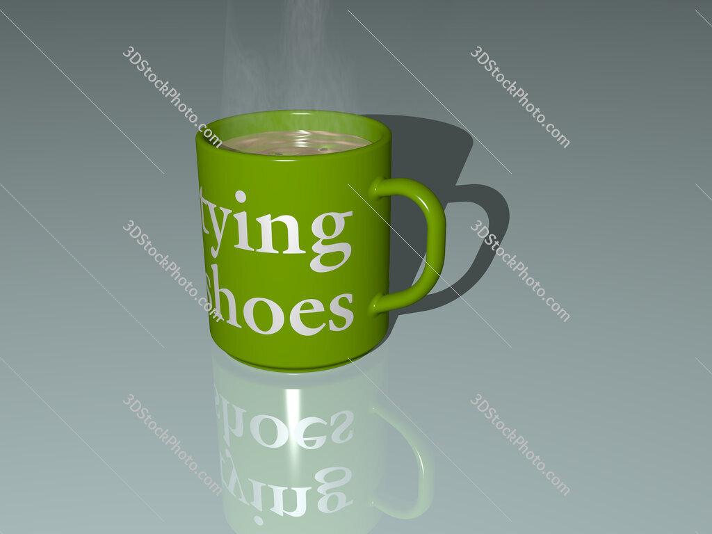 tying shoes text on a coffee mug