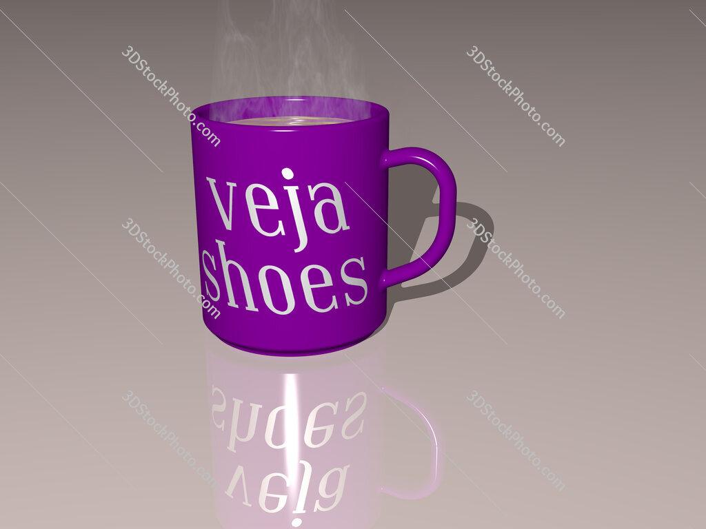 veja shoes text on a coffee mug