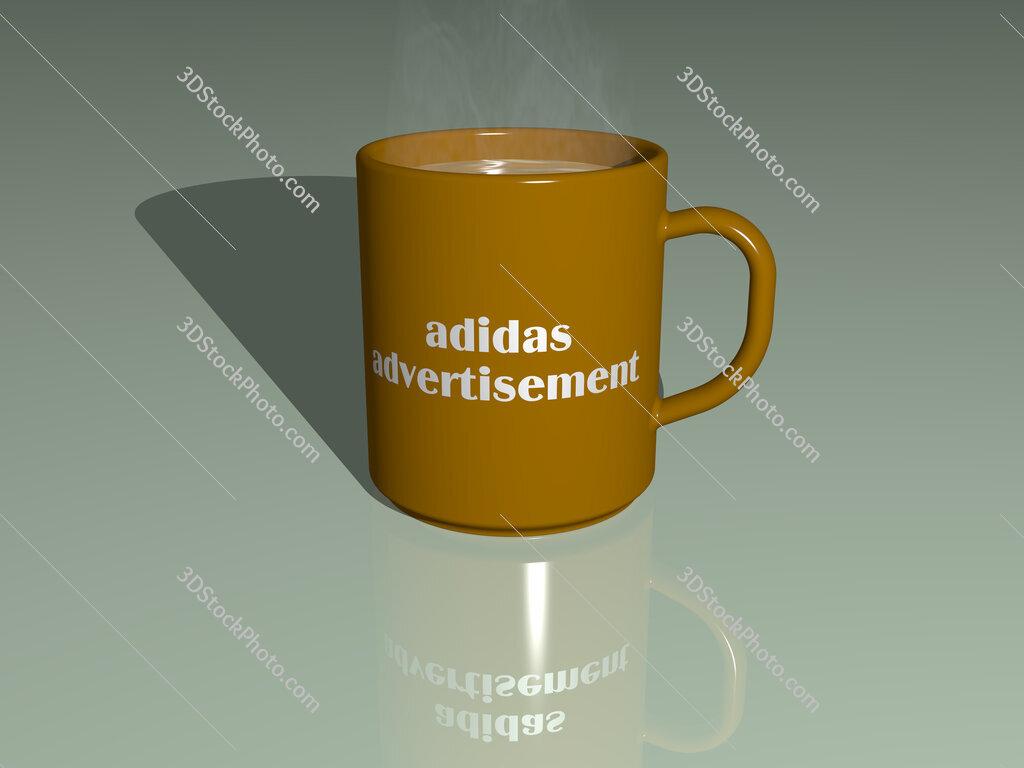 adidas advertisement text on a coffee mug