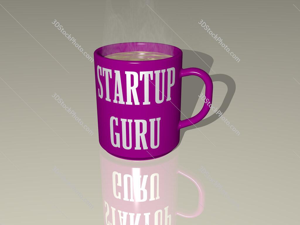 startup guru text on a coffee mug