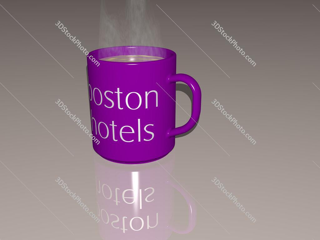 boston hotels text on a coffee mug