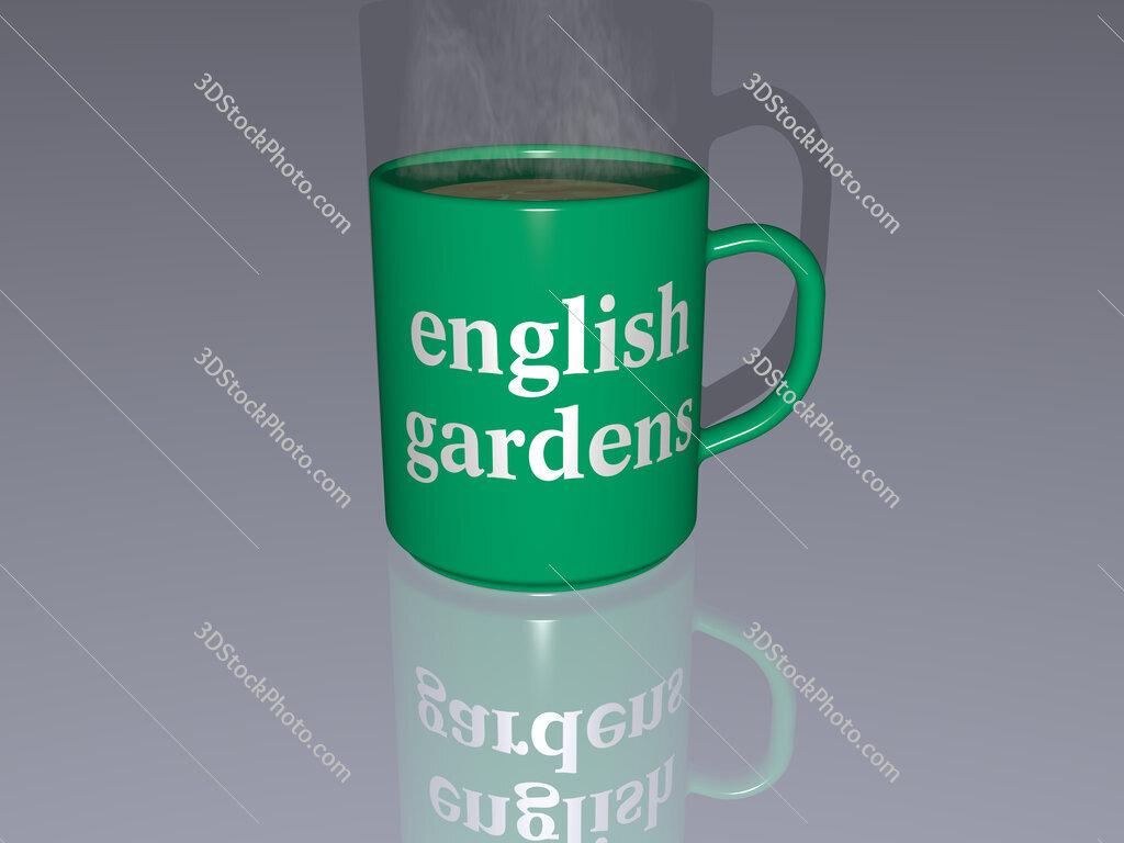 english gardens text on a coffee mug