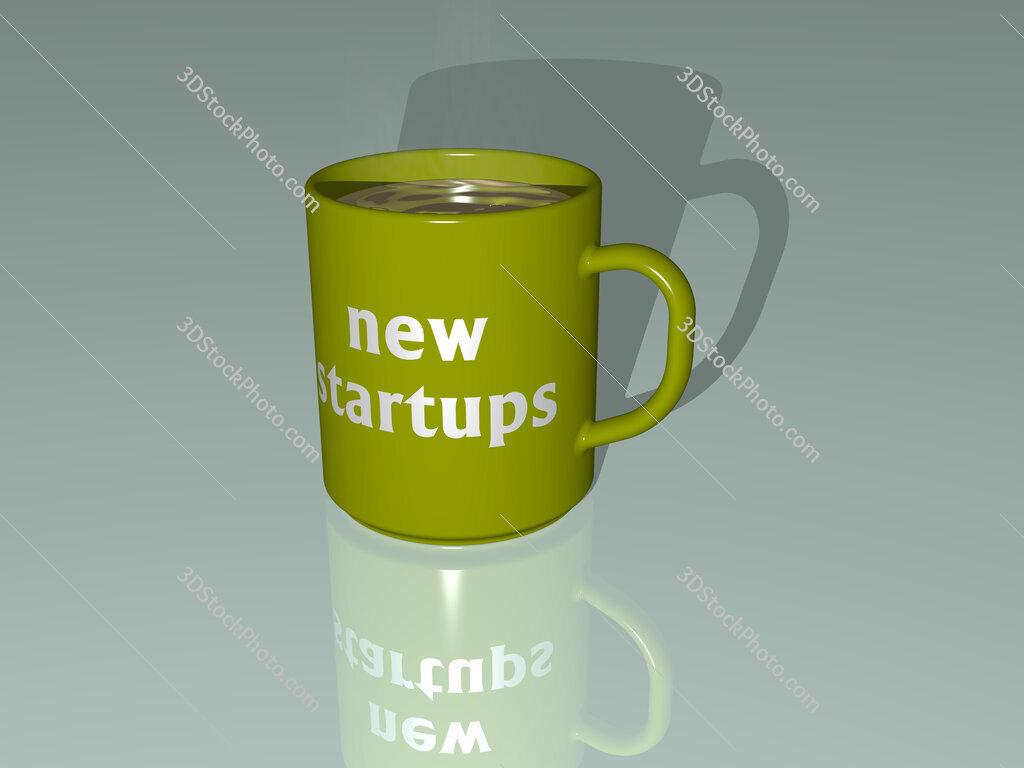 new startups text on a coffee mug