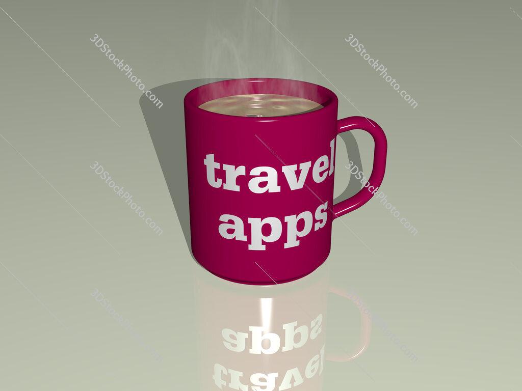 travel apps text on a coffee mug
