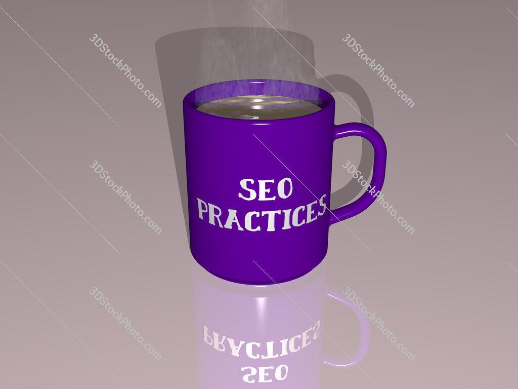 seo practices text on a coffee mug