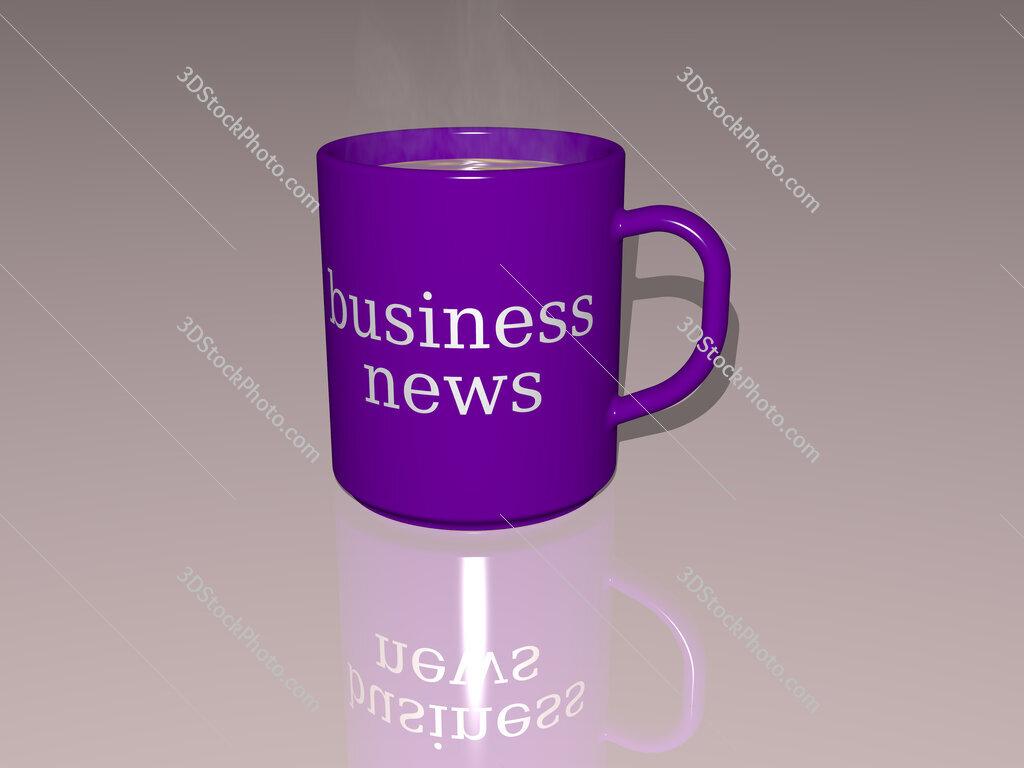 business news text on a coffee mug