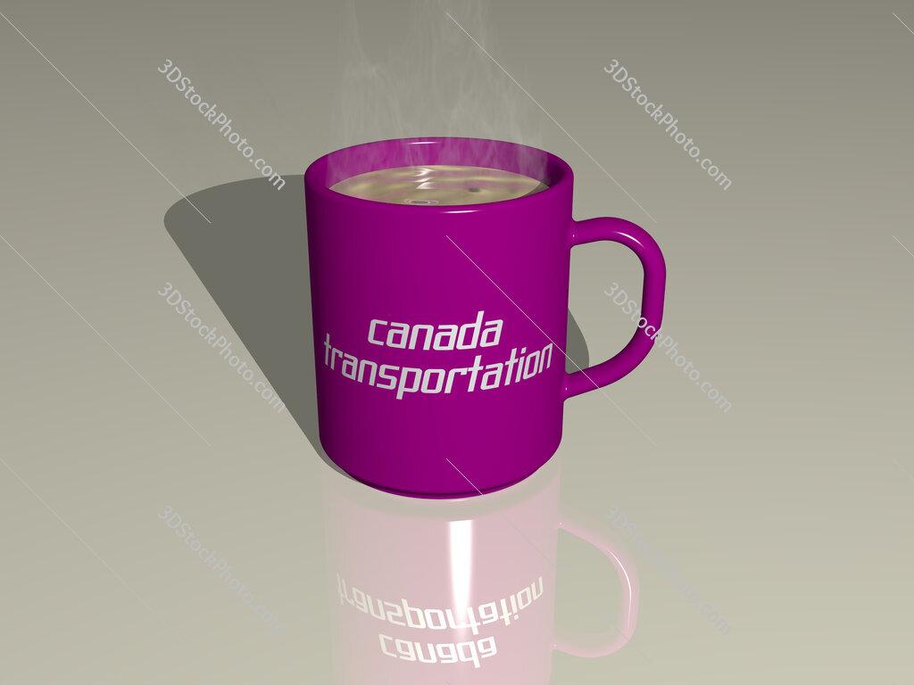 canada transportation text on a coffee mug