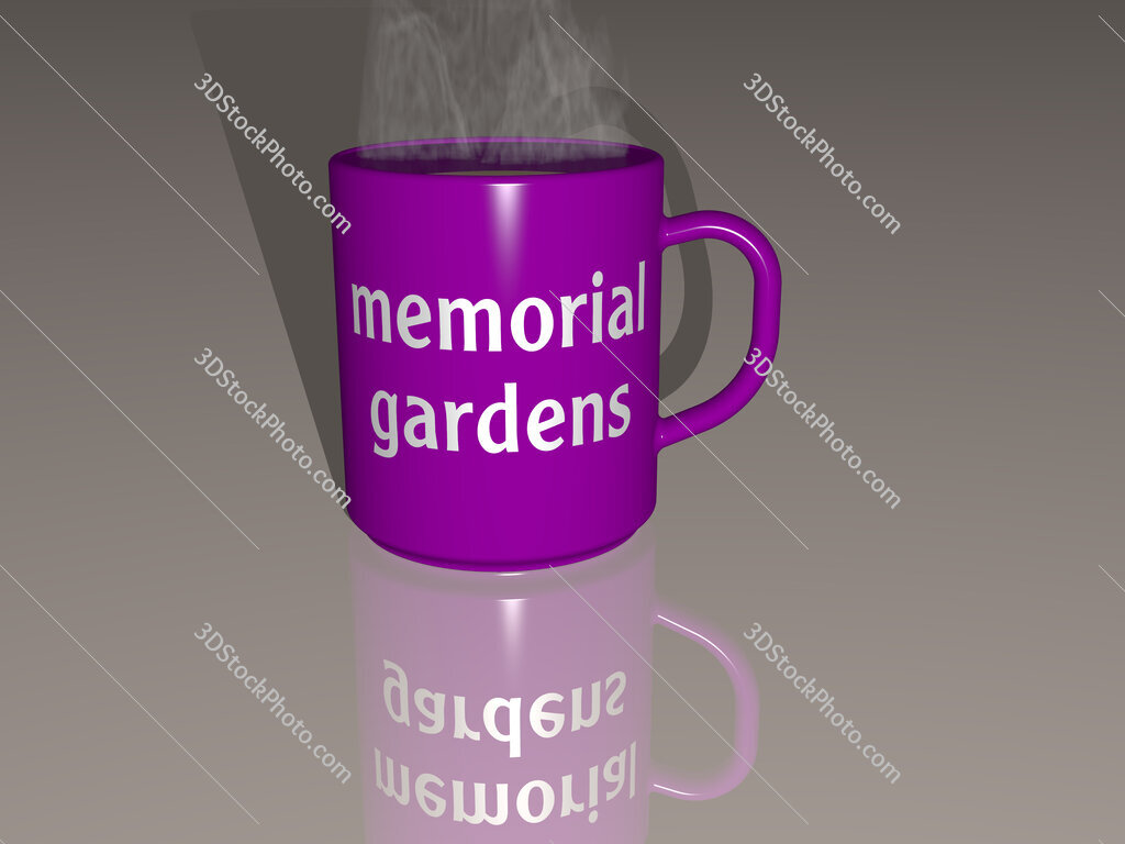 memorial gardens text on a coffee mug