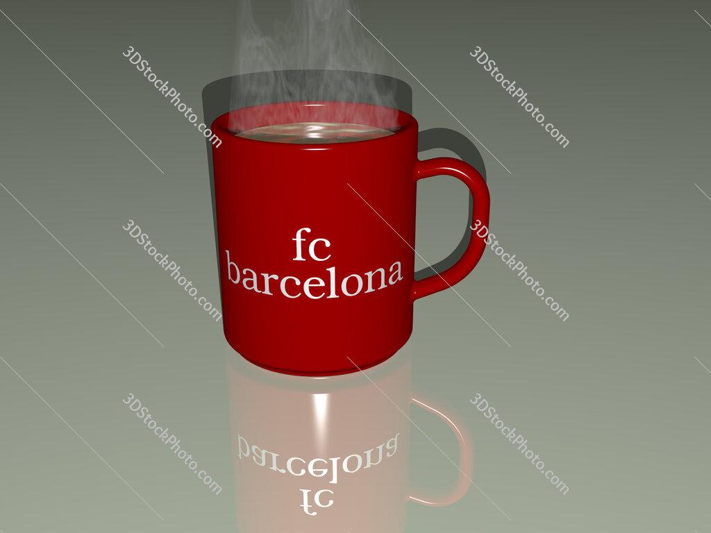 fc barcelona text on a coffee mug