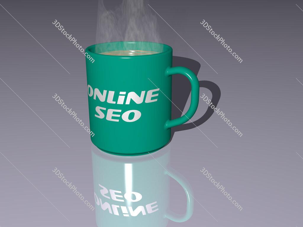 online seo text on a coffee mug