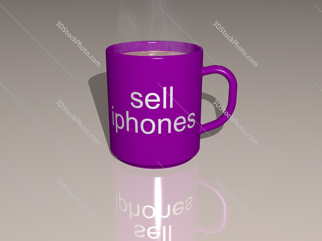 sell iphones text on a coffee mug