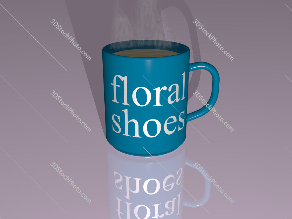 floral shoes text on a coffee mug