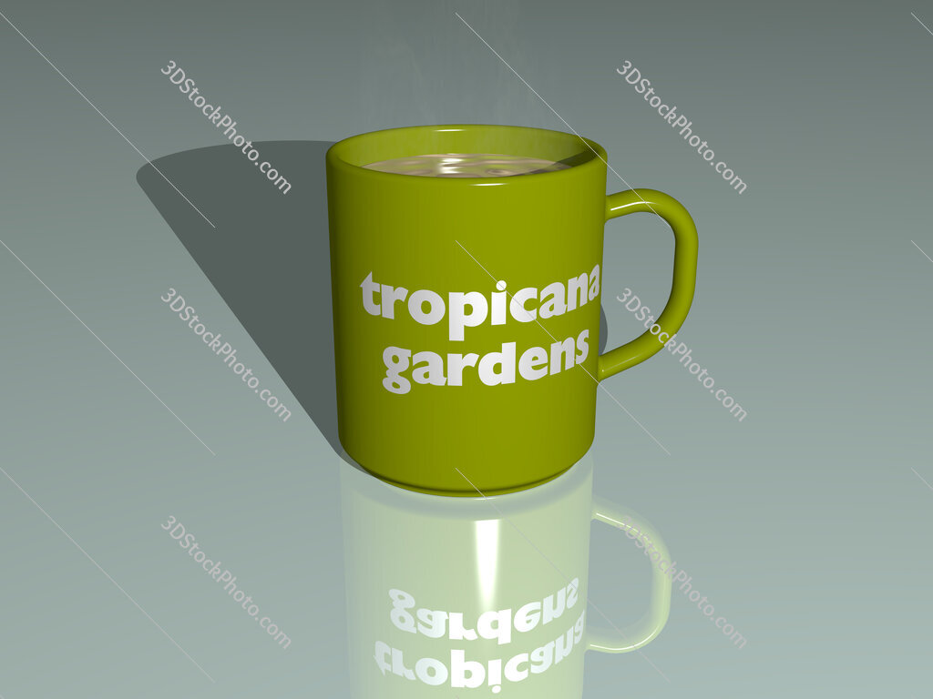 tropicana gardens text on a coffee mug