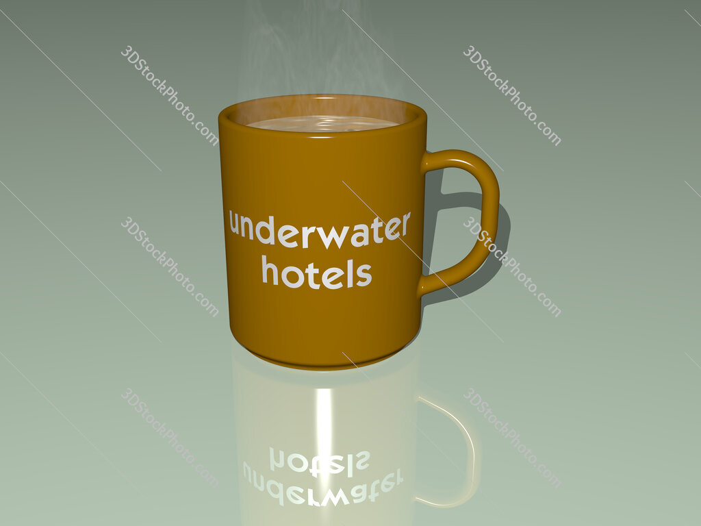 underwater hotels text on a coffee mug