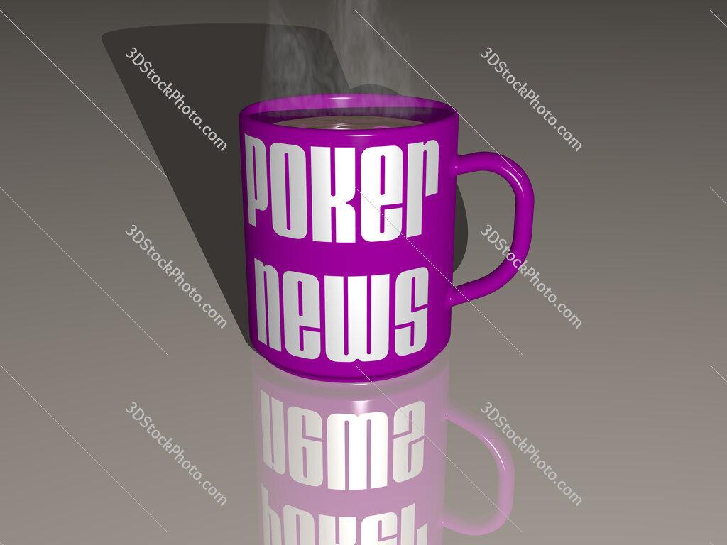 poker news text on a coffee mug