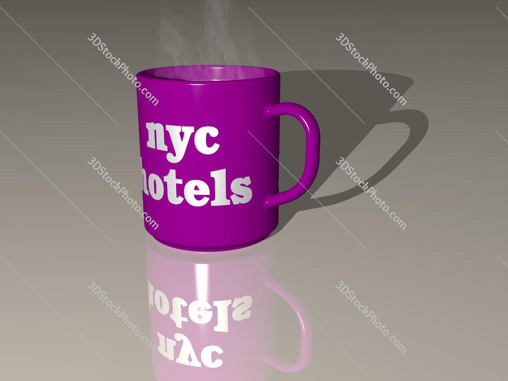 nyc hotels text on a coffee mug