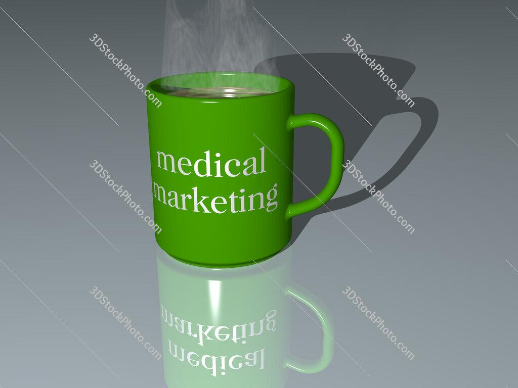 medical marketing text on a coffee mug