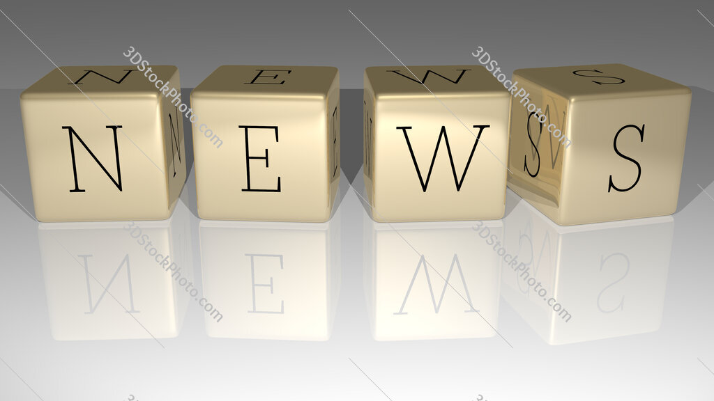 News text of cubic dice letters on the floor and 3D icon on the wall